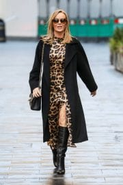 Amanda Holden in Leopard Print Dress with Long Coat Out in London 12/01/2020 6