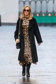 Amanda Holden in Leopard Print Dress with Long Coat Out in London 12/01/2020 7
