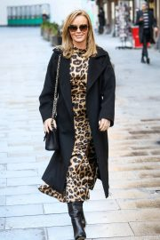 Amanda Holden in Leopard Print Dress with Long Coat Out in London 12/01/2020 8