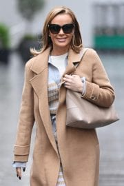 Amanda Holden in Lining Outfit with Overcoat Leaves Heart FM in London 12/03/2020 1