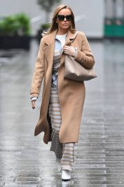Amanda Holden in Lining Outfit with Overcoat Leaves Heart FM in London 12/03/2020 4