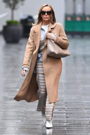 Amanda Holden in Lining Outfit with Overcoat Leaves Heart FM in London 12/03/2020 5