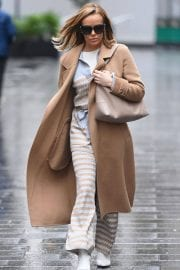 Amanda Holden in Lining Outfit with Overcoat Leaves Heart FM in London 12/03/2020 6