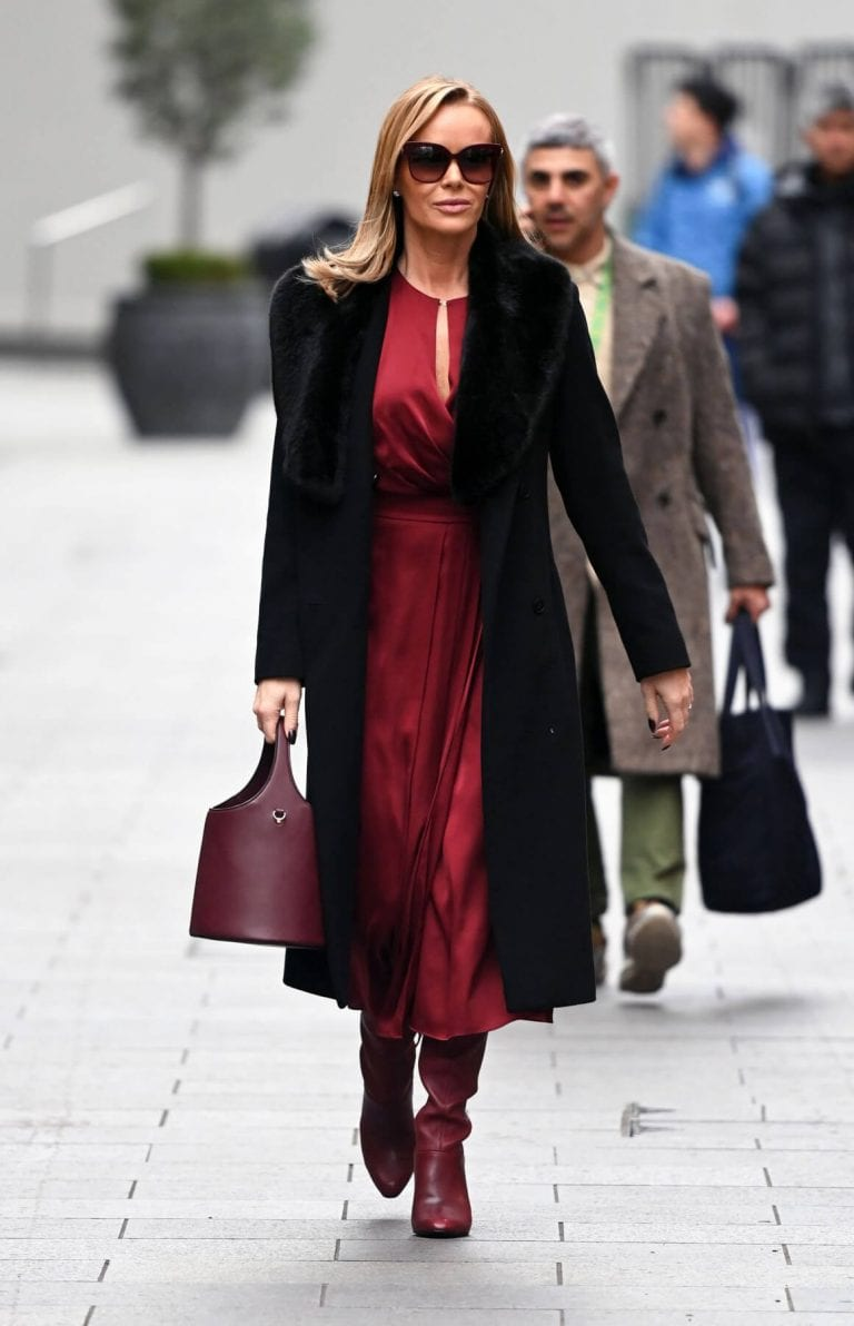Amanda Holden in Maroon Satin Dress Leaves Global Studios in London 12/02/2020 1