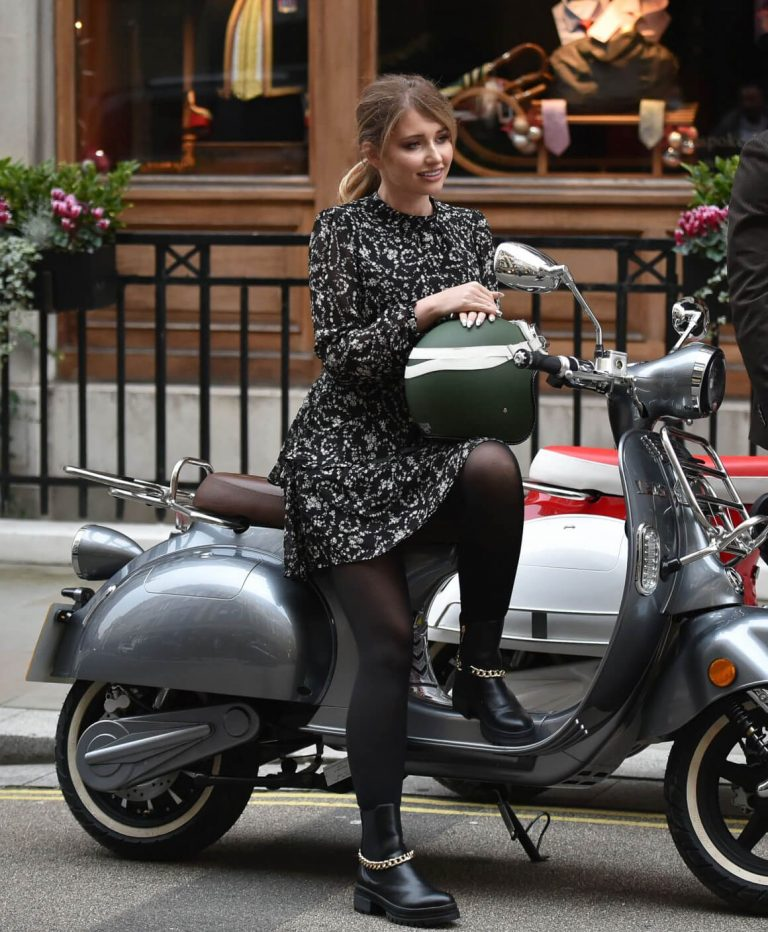 Amy Hart on the Set of Commercial for Velo Scooters in London 11/30/2020 4