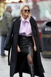 Ashley Roberts in Black Long Overcoat Arrives at Heart Radio in London 12/04/2020 2