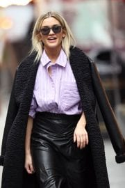Ashley Roberts in Black Long Overcoat Arrives at Heart Radio in London 12/04/2020 3