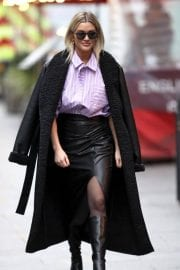Ashley Roberts in Black Long Overcoat Arrives at Heart Radio in London 12/04/2020 4