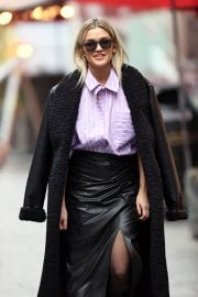 Ashley Roberts in Black Long Overcoat Arrives at Heart Radio in London 12/04/2020 6