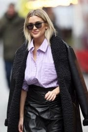 Ashley Roberts in Black Long Overcoat Arrives at Heart Radio in London 12/04/2020 7