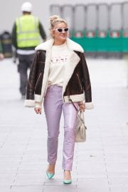 Ashley Roberts in Shearling Coat Arrives at Heart Radio Studios in London 12/02/2020 1