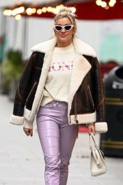 Ashley Roberts in Shearling Coat Arrives at Heart Radio Studios in London 12/02/2020 5