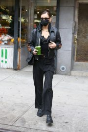 Bella Hadid in Black Fire Print Jacket leaves a Supermarket in New York 12/01/2020 9