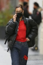 Bella Hadid in Puffer Jacket with Red T-Shirt Out Shopping in New York 12/02/2020 1
