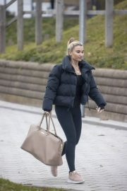 Billie Faiers in Black Puffer Jacket with Tights Leaves Slough Ice Rink 12/02/2020 2