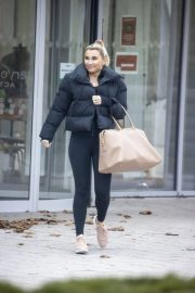 Billie Faiers in Black Puffer Jacket with Tights Leaves Slough Ice Rink 12/02/2020 3