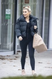 Billie Faiers in Black Puffer Jacket with Tights Leaves Slough Ice Rink 12/02/2020 4