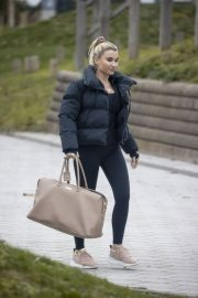 Billie Faiers in Black Puffer Jacket with Tights Leaves Slough Ice Rink 12/02/2020 5
