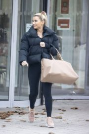 Billie Faiers in Black Puffer Jacket with Tights Leaves Slough Ice Rink 12/02/2020 6