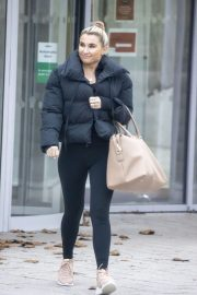 Billie Faiers in Black Puffer Jacket with Tights Leaves Slough Ice Rink 12/02/2020 8