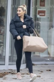 Billie Faiers in Black Puffer Jacket with Tights Leaves Slough Ice Rink 12/02/2020 10