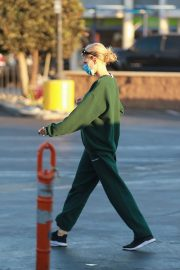 Charlotte McKinney in Green Winter Outfit Out Shopping in Santa Monica 11/24/2020 1