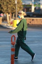 Charlotte McKinney in Green Winter Outfit Out Shopping in Santa Monica 11/24/2020 6