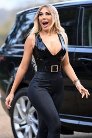 Chloe Ferry flashes her cleavage on the Set of Celebs Go Dating in Sussex 11/23/2020 10