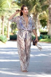 Chloe Goodman in Transparent Animal Print Jumpsuit Out and About in Dubai 11/30/2020 3
