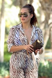 Chloe Goodman in Transparent Animal Print Jumpsuit Out and About in Dubai 11/30/2020 5