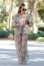 Chloe Goodman in Transparent Animal Print Jumpsuit Out and About in Dubai 11/30/2020 6