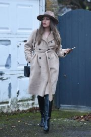 Chloe Ross in Long Coat with Boots After Leaves a Photoshoot in London 11/30/2020 1