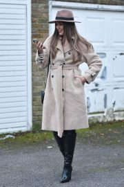 Chloe Ross in Long Coat with Boots After Leaves a Photoshoot in London 11/30/2020 2