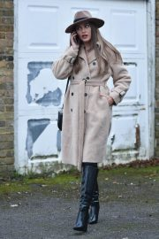 Chloe Ross in Long Coat with Boots After Leaves a Photoshoot in London 11/30/2020 4