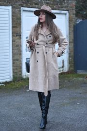 Chloe Ross in Long Coat with Boots After Leaves a Photoshoot in London 11/30/2020 6