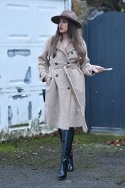Chloe Ross in Long Coat with Boots After Leaves a Photoshoot in London 11/30/2020 8
