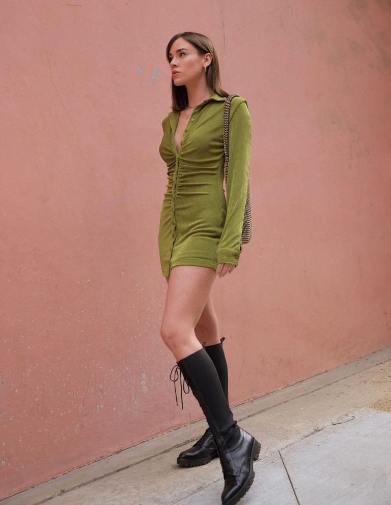 Christa B. Allen in Olive Dress - Instagram Photos 12/03/2020 2