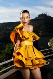 Christian Serratos in Mustard Off-Shoulder Dress During Photoshoot for LA Times, November 2020 2