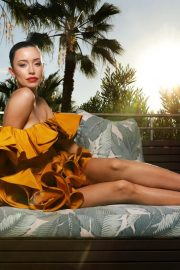 Christian Serratos in Mustard Off-Shoulder Dress During Photoshoot for LA Times, November 2020 3