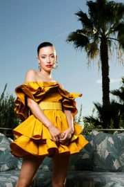 Christian Serratos in Mustard Off-Shoulder Dress During Photoshoot for LA Times, November 2020 4