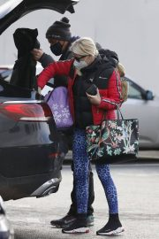 Denise van Outen in Double Puffer Jacket Out Shopping in Chelmsford 11/24/2020 2
