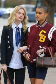 Emily Alyn Lind, Jordan Alexander and Whitney Peak on the Set of Gossip Girl on in New York 11/25/2020 3