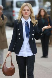 Emily Alyn Lind, Jordan Alexander and Whitney Peak on the Set of Gossip Girl on in New York 11/25/2020 11
