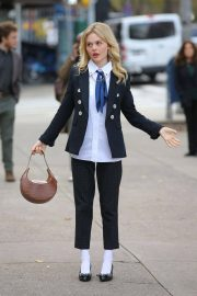 Emily Alyn Lind, Jordan Alexander and Whitney Peak on the Set of Gossip Girl on in New York 11/25/2020 12