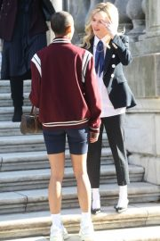 Emily Alyn Lind on the Set of Gossip Girl in New York 11/24/2020 5