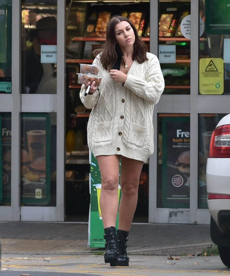 Imogen Thomas flashes her beautiful legs at a Gas Station in London 11/24/2020 1