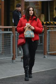 Imogen Thomas seen in Red Puffer Jacket at McDonalds in Chelsea 12/03/2020 1