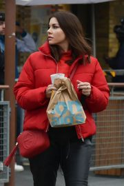 Imogen Thomas seen in Red Puffer Jacket at McDonalds in Chelsea 12/03/2020 2