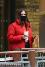Imogen Thomas seen in Red Puffer Jacket at McDonalds in Chelsea 12/03/2020 3