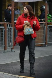 Imogen Thomas seen in Red Puffer Jacket at McDonalds in Chelsea 12/03/2020 5